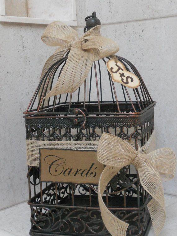 Birdcage Wedding Card Holder / Rustic Burlap Wedding by ThoseDays, $45.00