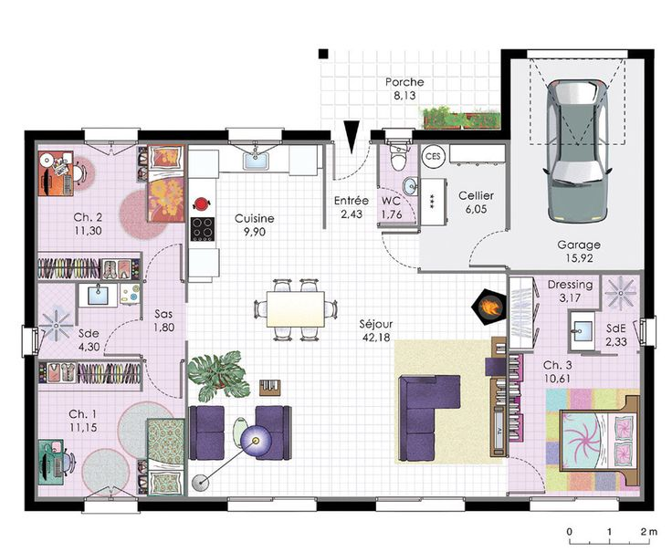 12 best CHOSES A VOIR images on Pinterest Backgrounds, Doodles and - plan de maison plain pied chambres gratuit