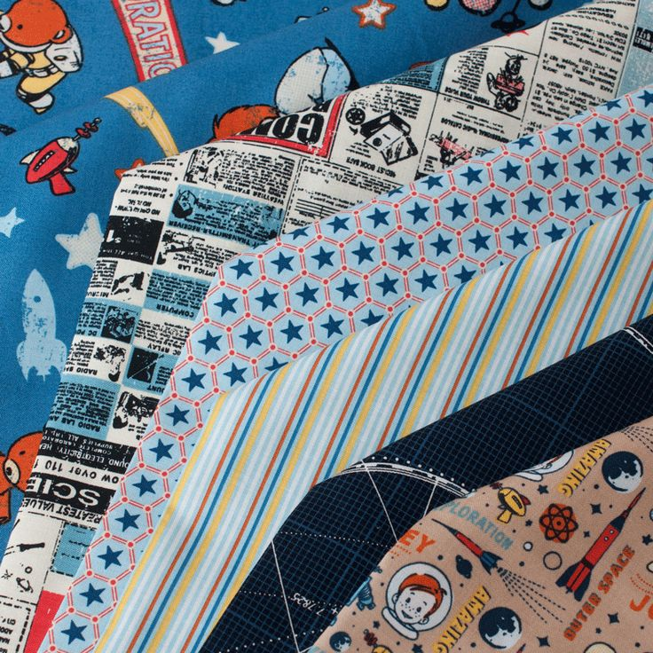 PlushAddict - Fat Quarter Bundle Cottons: Rocket Age, 6 Fabrics - cotton fabric