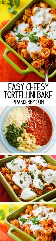 EASY Cheesy Tortellini Bake! Only 5 ingredients and 10 minutes of prep time!
