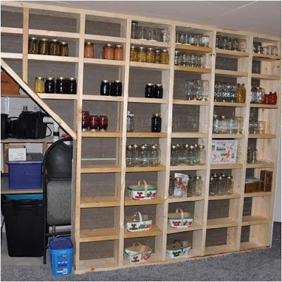 Storage shelves built between wall studs--great use of space! We'd add slats across the bottom part of each compartment to guard against items falling out during an earthquake.                                                                                                                     Brenda Ashley-Todd                                                                   • 39 weeks ago…