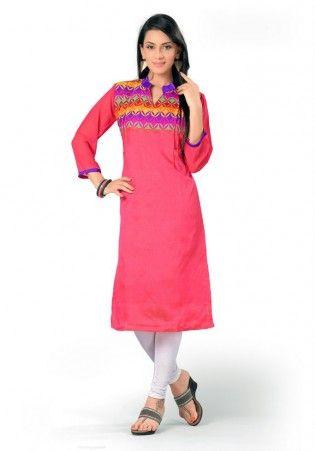 Peachish Pink Chanderi Cotton Kurti