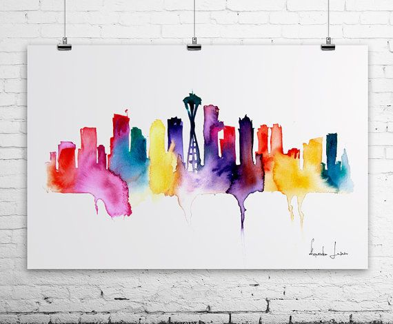 SEATTLE City Watercolor Painting - Art Print - Wall Art - skyline poster