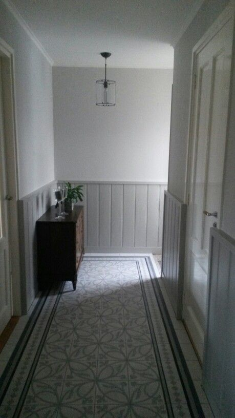Hallway painted in Farrow and ball colours Ammonite ( walls ) and Purbeck stone. Lovely combination with the floor.