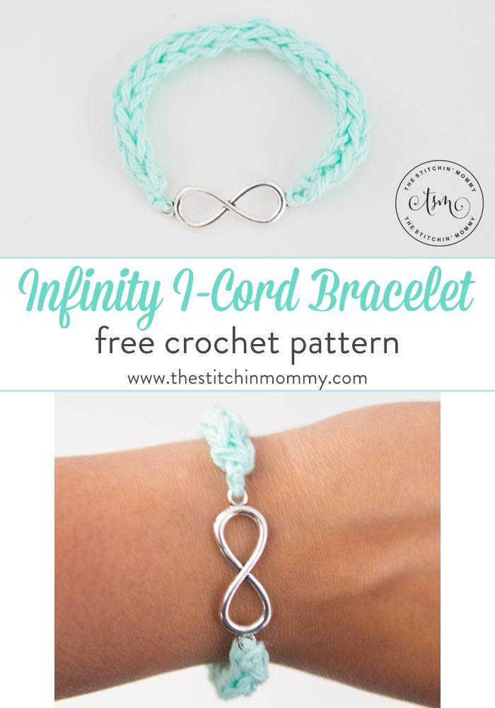 Infinity I-Cord Bracelet - Free Crochet Pattern - The Stitchin Mommy - https://www.thestitchinmommy.com/2017/07/infinity-i-cord-bracelet-free-crochet-pattern.html