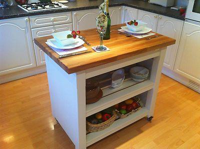 Shabby Chic Beech Butchers block kitchen Island Unit table in Laura Ashley White   eBay