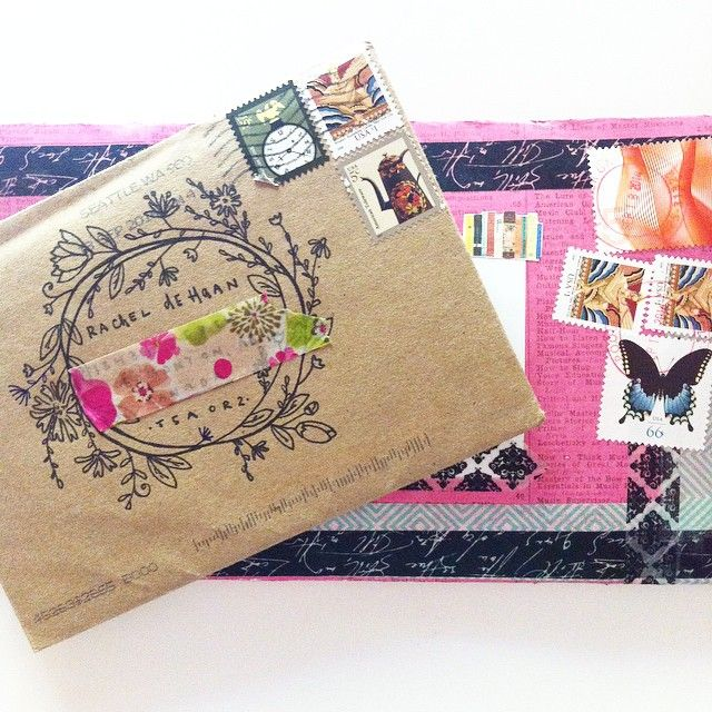 Decorated snail mail envelopes.