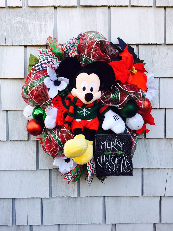 Mickey Mouse  Wreath, Disney Wreath, Mickey Mouse Christmas  Wreath. Disney Wreath, red, White, Green and Black, Deco Mesh by TisTheSeasonDesign on Etsy https://www.etsy.com/listing/267826741/mickey-mouse-wreath-disney-wreath-mickey