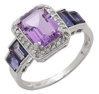 10K White Gold Amethyst, Diamond and Iolite Ring. #ilovetoshop