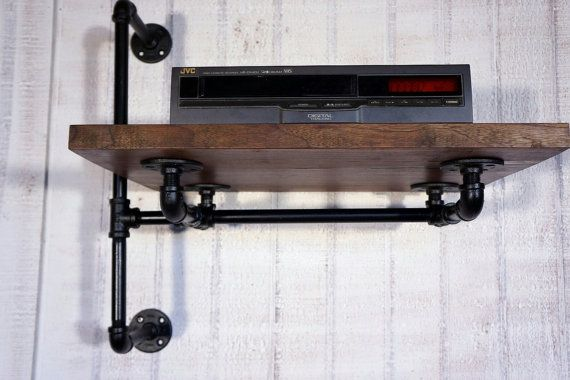 Reclaimed Oak Stereo Shelf With Industrial Iron