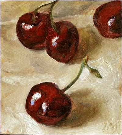 Cherries 10cm x 12cm, oil on gessoed card Painting status: SOLD Daily painting for Monday 23 May, 2005