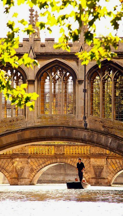 St Johns Bridge of Sighs punting summer, Cambridge University, England                                                                                                                                                                                 More