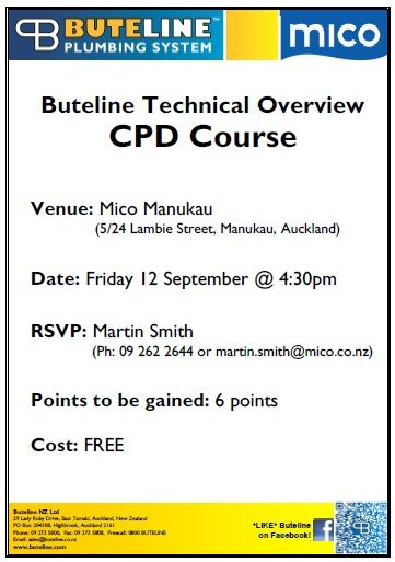 FREE Buteline Technical Overview Continued Professional Development (CPD) Course @ Mico Manukau on Fri 12 Sep 2014
