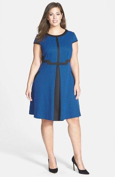 Love this houndstooth/cobalt dress with the black inserts -- flattering and fun.