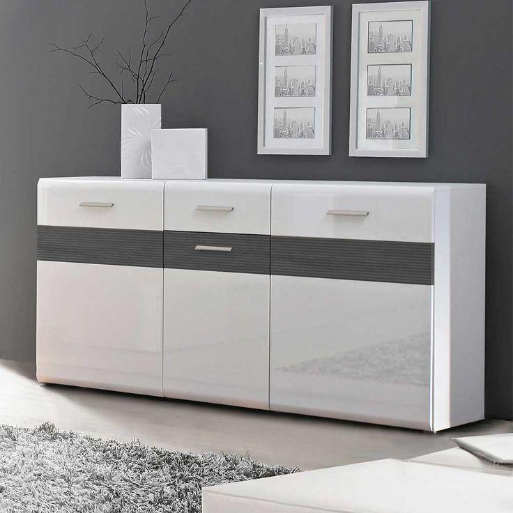 Schön sideboard weiß grau hochglanz