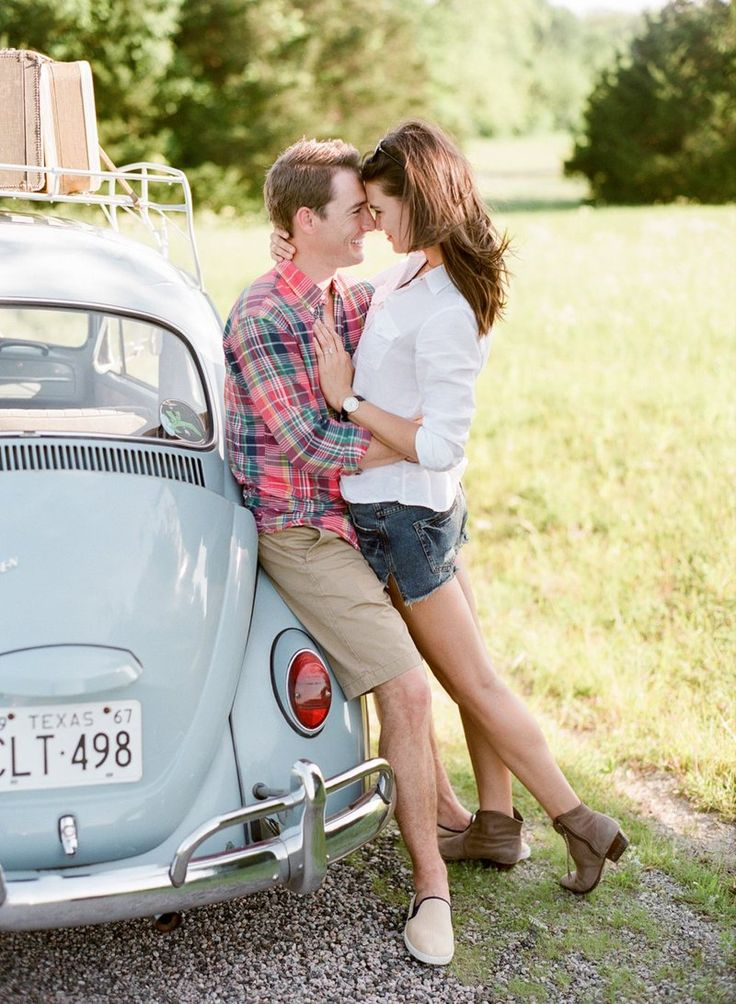 Road Trip Engagement Shoot by Jenny McCann on Blog - RENT MY DUST Vintage Rentals Dallas Texas - vintage suitcase & VW Bug