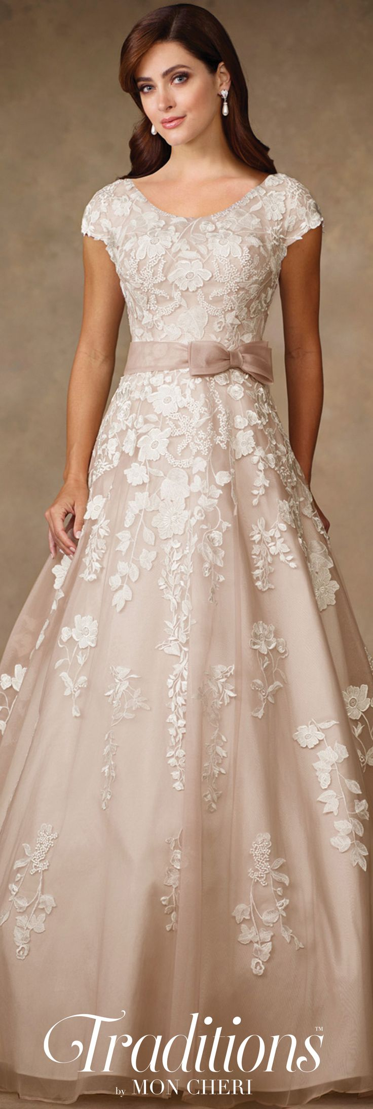 Traditions by Mon Cheri Spring 2017 Wedding Gown Collection - Style No. TR11707 - lace cap sleeve wedding dress in Tea Rose/Ivory