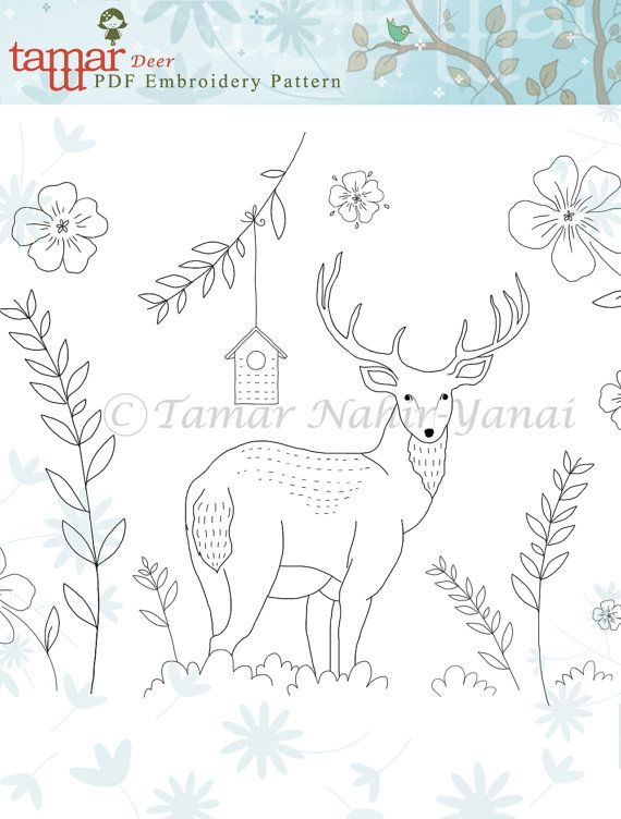Embroidery patterns baby headband Deer by TamarNahirYanai on Etsy
