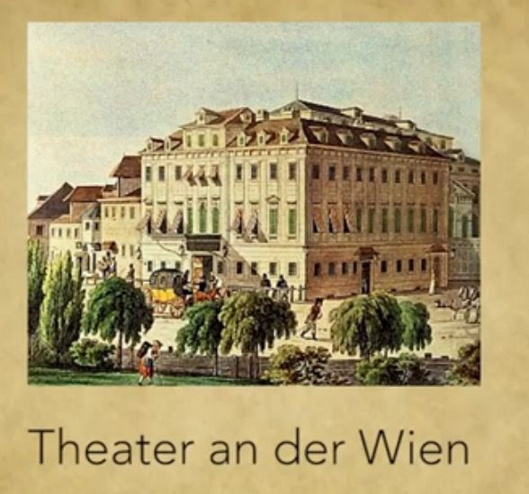 """El """"Theater an der Wien"""" a inicios del siglo XIX, grabado de Jakob Alt."""
