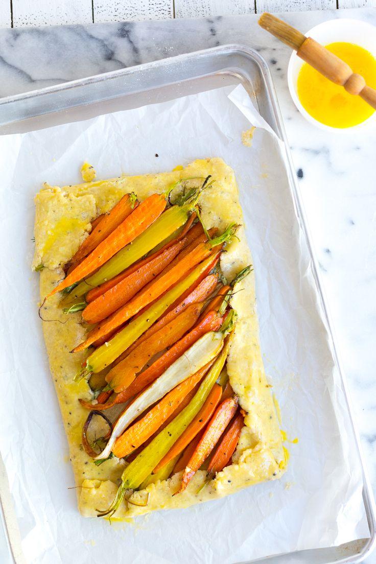 Assembling Roasted Carrot & Herby Feta Galette by Baking The Goods     @beckysuebakes     bakingthegoods.com