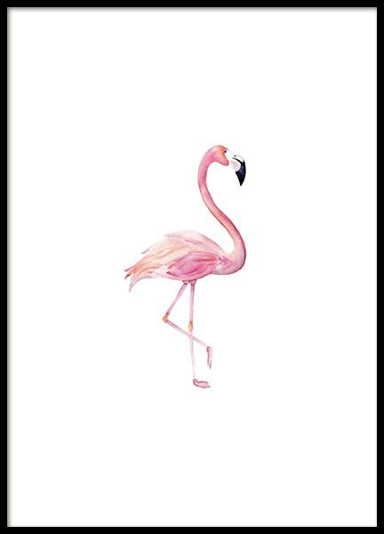 Flamingo aquarelle  Poster in the group Posters & Prints / Sizes / 30x40cm | 11,8x15,7 at Desenio AB (2222)