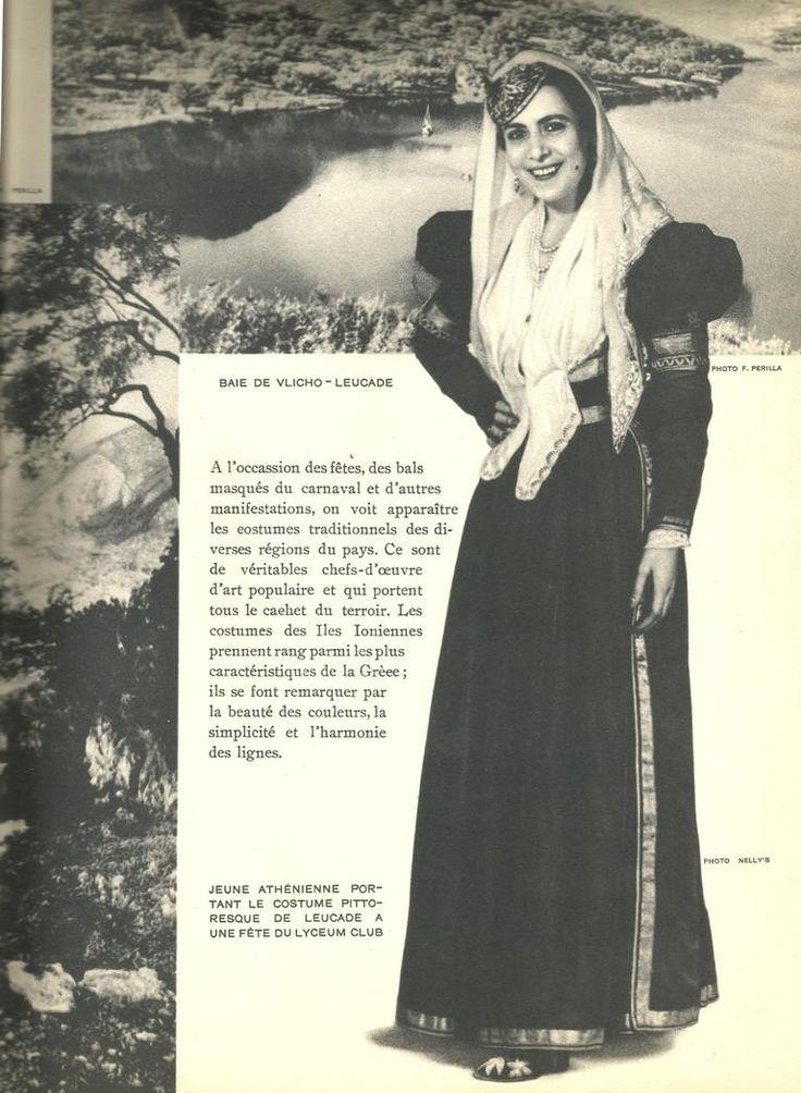 Λευκαδίτισα νύφη με φόντο το Βλυχό το 1937.