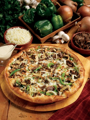 NEW Limited Time Offer! South Philly CheeseSteak! White American Cheese, thin sliced Steak, Mushrooms, Green Peppers, and Onion. Mmmm! Order online at www.marcos.com