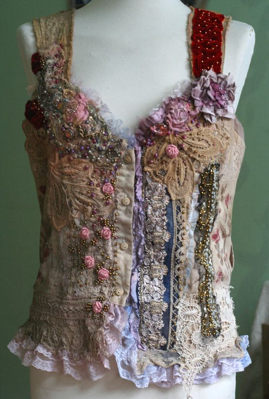 Lucinda-unique shabby chic bodice wearable art от FleursBoheme
