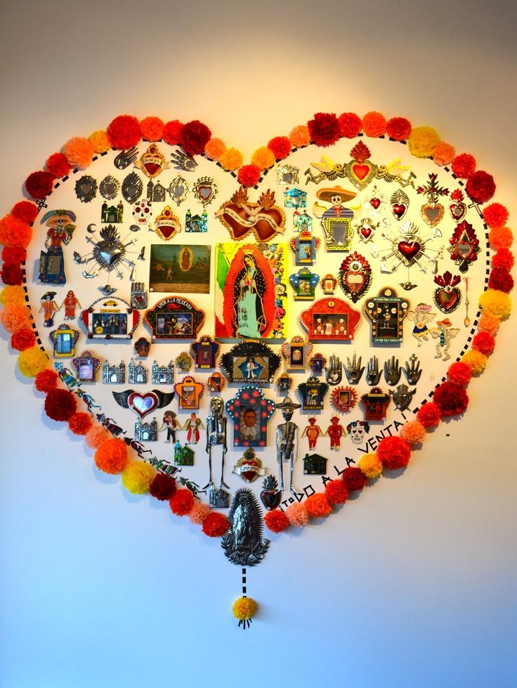 Wall of Mexican folk art