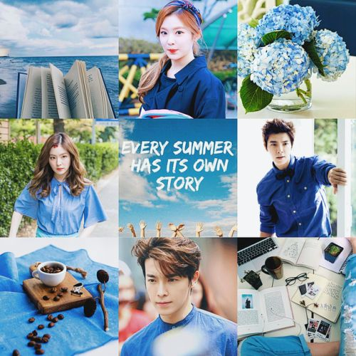 moodboard 5 - blue summer featuring irene and donghae