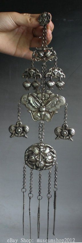 Chinese Miao Silver Butterfly Bat Weaponry Noble Ornaments Necklace Pendant in Antiques, Asian Antiques, China, Necklaces & Pendants | eBay