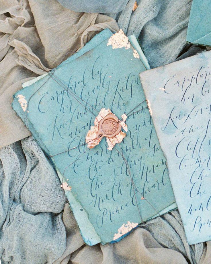 Shades of blue wedding invitations