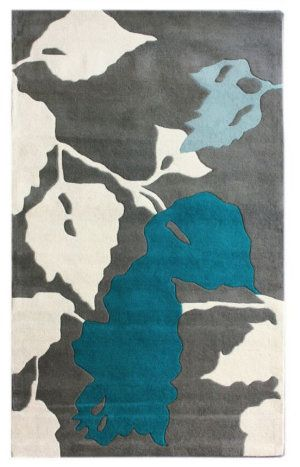 Nuloom Maison Leaves Blue Area Rug.  Thinking of teal as the accent colour.