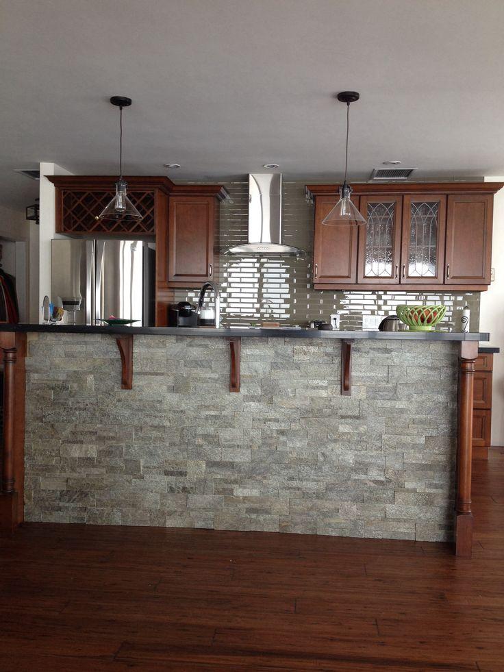 Glass Tile On Backsplash, Ledge Stone On Bar Table (counter)
