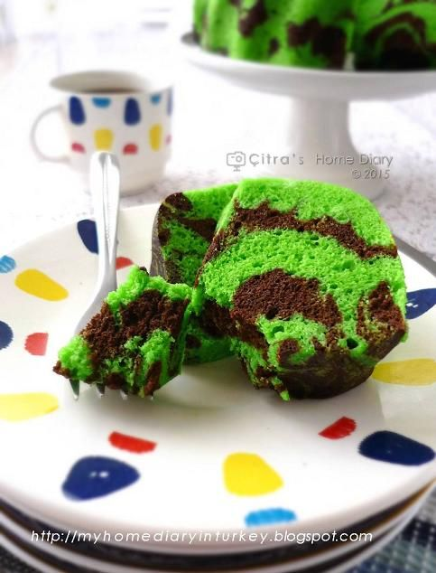 Citra's Home Diary: Steamed Pandan Chocolate Marble Cake (from Egg white)