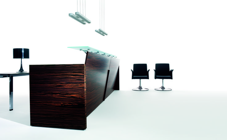 Beauty Touch clear cut courtesy station  in Ebony wood and glass #working #frontoffice #frontdesk #welcoming