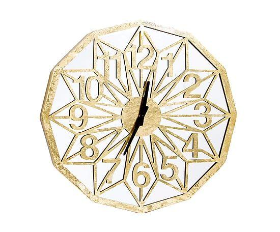 Reloj de pared en madera DM, dorado - Ø60 cm