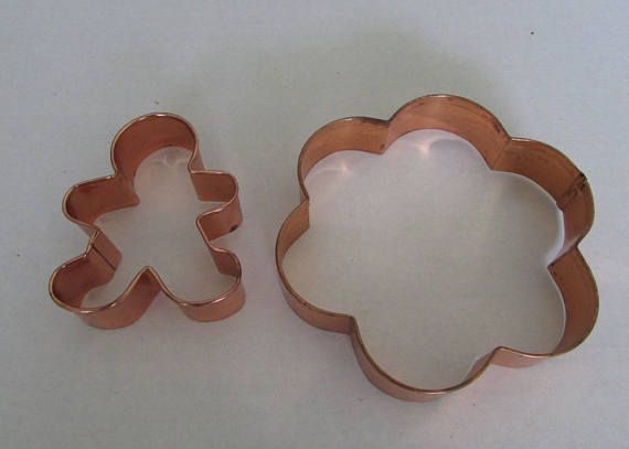 Vintage set of two copper coated tin sheet metal cookie