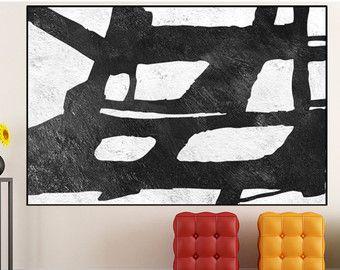 kunst aan de zwart-witte muur, grote originele abstract schilderij op doek, Abstract Wall art canvas schilderen home decor, minimalistische muur kunst