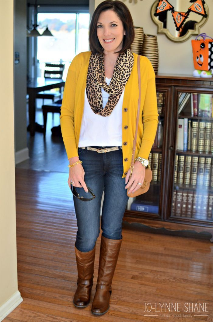 Fall Fashion | Mustard Cardigan with Skinny Jeans and Frye Boots