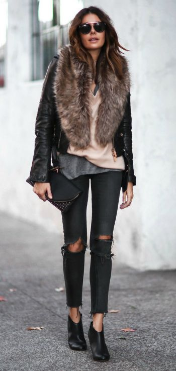 A faux fur collar + stole + perfect way to add some edge and glamour + everyday look + Erica Hoida + utterly glam + distressed black denim jeans + classic leather jacket + faux fur stole  Shrug/Shoes/Clutch: Sole Society, Jacket: DSquared2, Sweater: T by Alexander Wang, Tee: Current Elliott, Jeans: Rag & Bone, Choker: Parpala Jewelry.