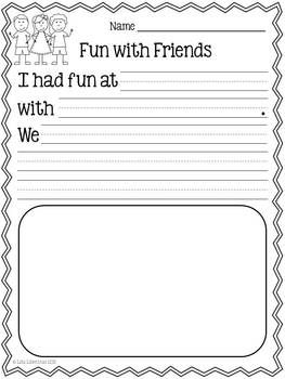 With this personal narrative writing lesson, students will write about a time when they had fun with their friends. Vocabulary cards and a fun brainstorming activity are included.