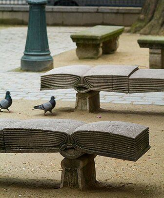 Square Gabriel-Pierné, Paris...Book benches. Great spot to sit and read.