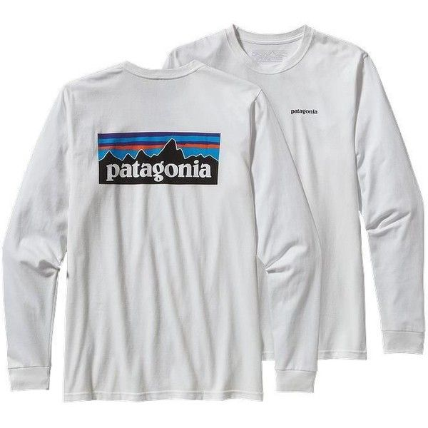 Patagonia Longsleeve P-6 Logo T-shirt ($45) ❤ liked on Polyvore featuring tops, t-shirts, long sleeve t shirts, screen print tees, long tops, screen print t shirts and longsleeve t shirts