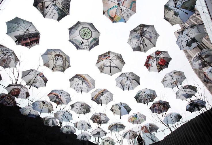 Umbrellas in Formation