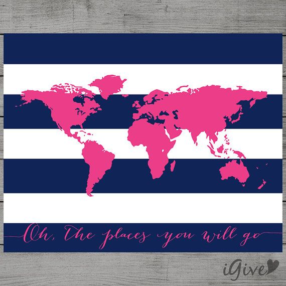 World Map Navy Blue and Hot Pink Nursery Wall Art 11x by igivelove For Hannah's playroom