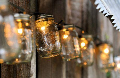 Christmas light mason jars