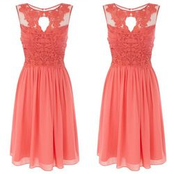 Online Shop New Arrival 2014 Knee Length Draped Tank Sheer Neck Lace Bridesmaid Dresses Cheap Chiffon Short Coral Bridesmaid Dresses|Aliexpress Mobile