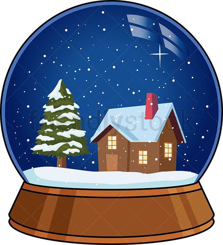 Christmas Snow Globe Cartoon Clipart Vector Friendlystock Christmas Illustration Snow Globes Christmas Snow Globes