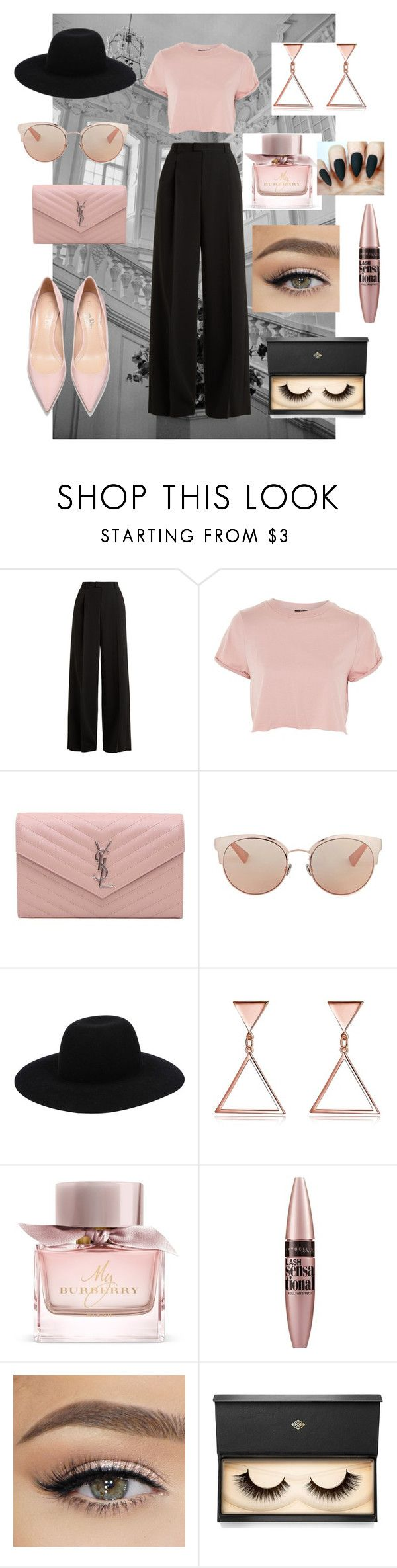 """""""Untitled #96"""" by unicorn234fan ❤ liked on Polyvore featuring RED Valentino, Topshop, Yves Saint Laurent, Christian Dior, Off-White, Burberry, Maybelline and Lash Star Beauty"""